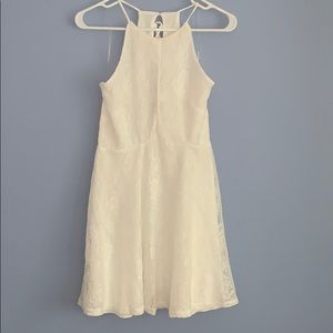 White halter top lace dress. Ties up the back